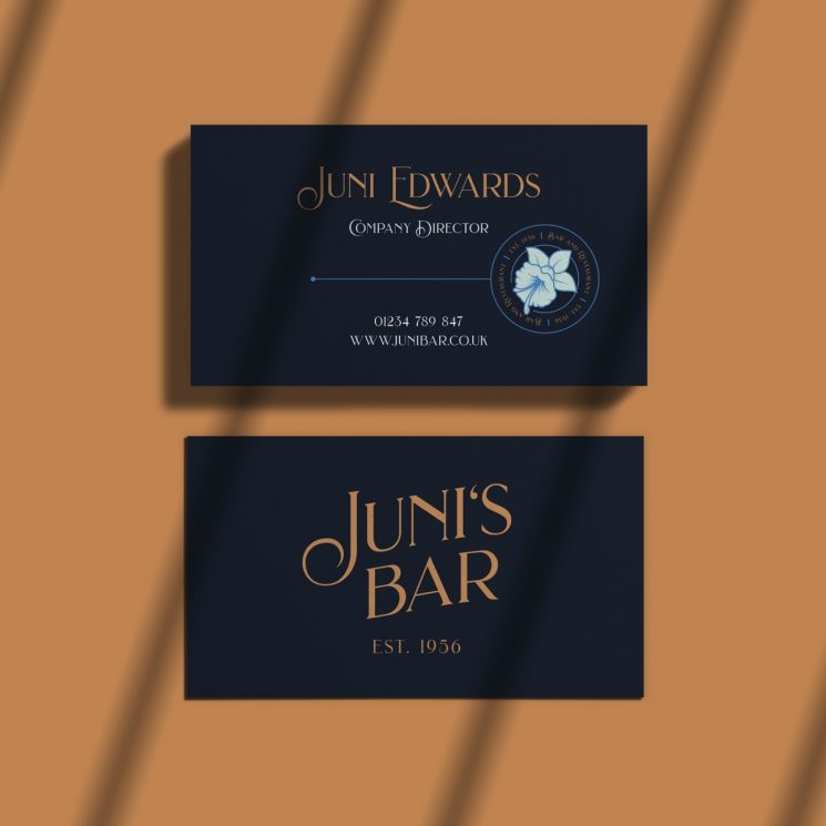 Juni's Bar business card