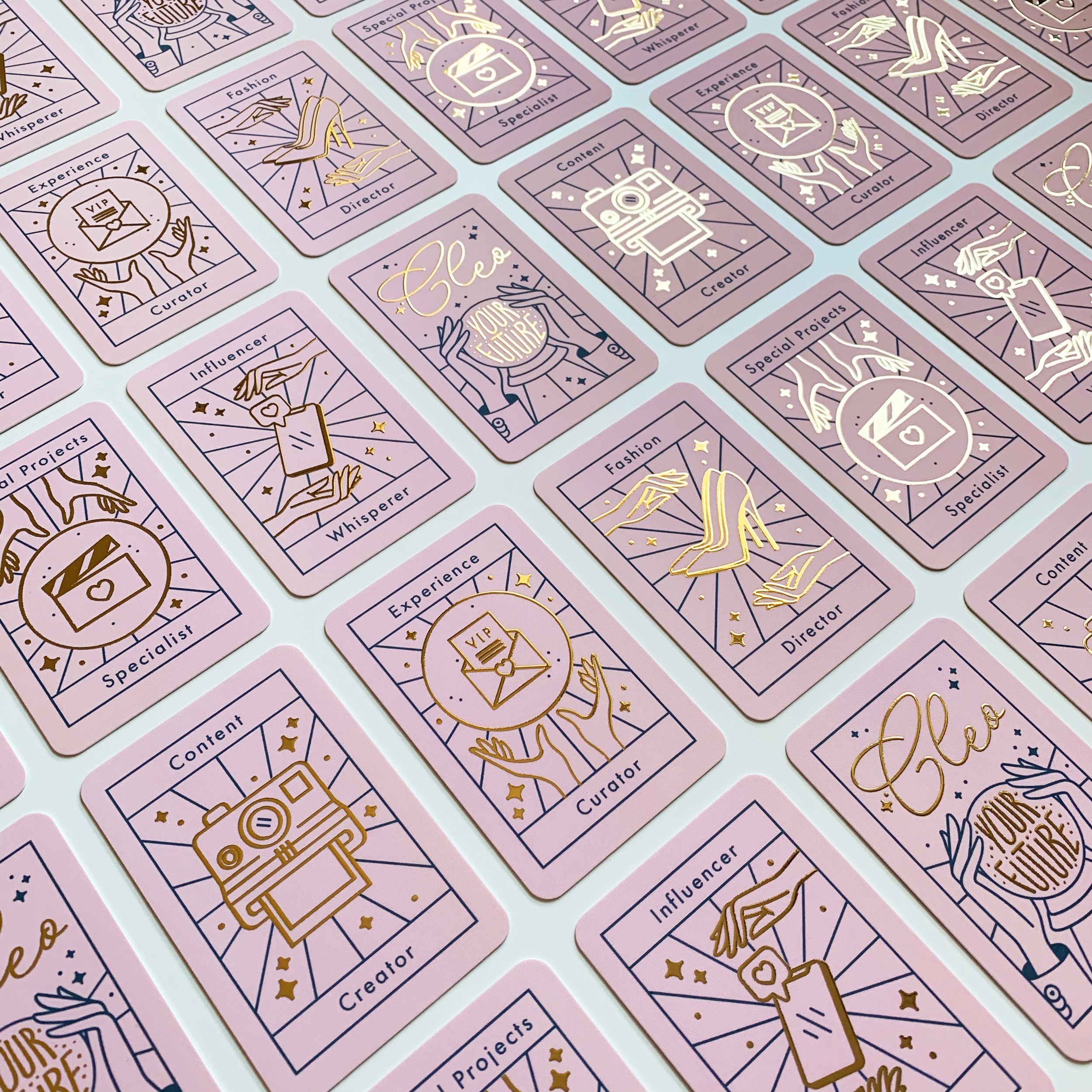 Cleo tarot deck-styled business cards