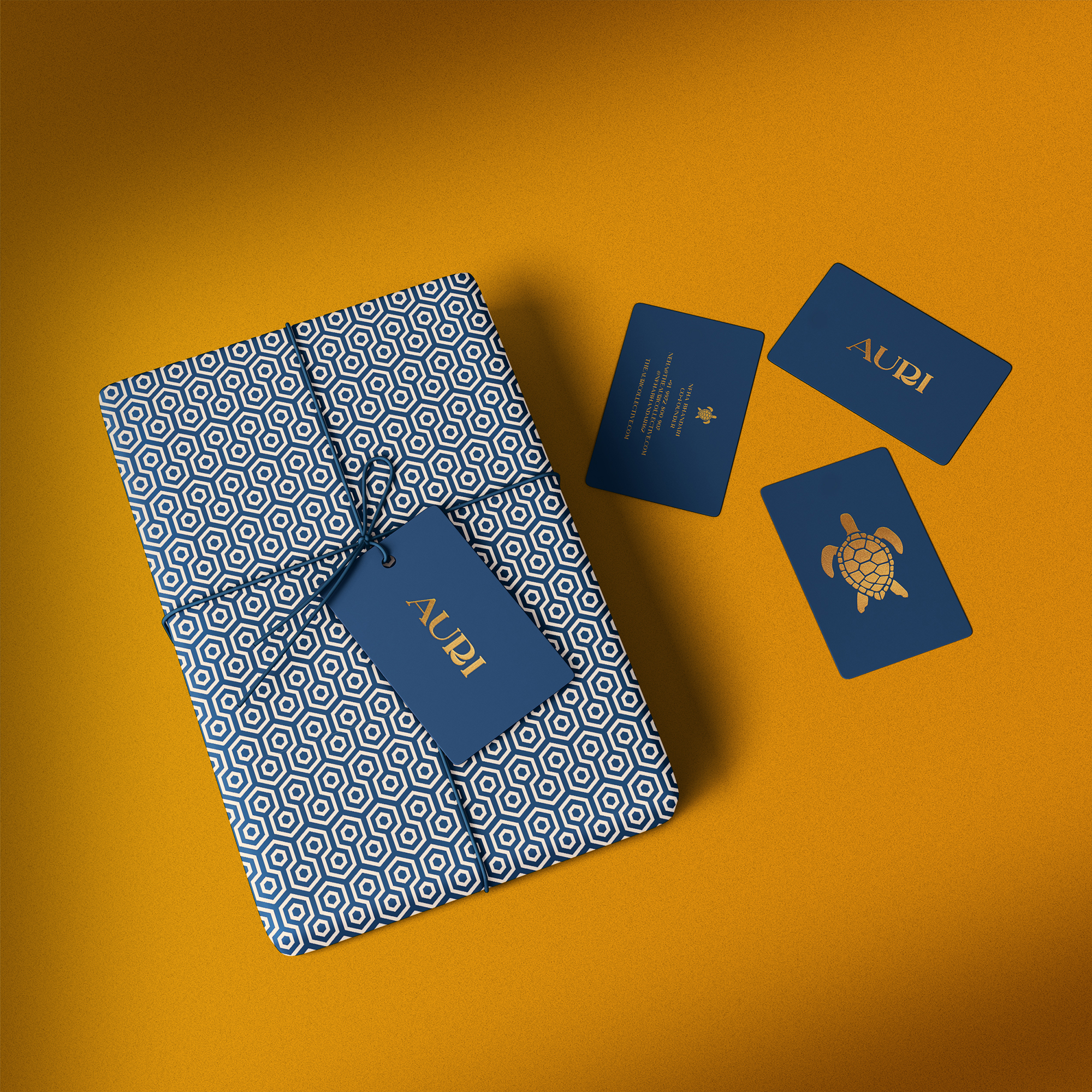 Auri business cards and packaging