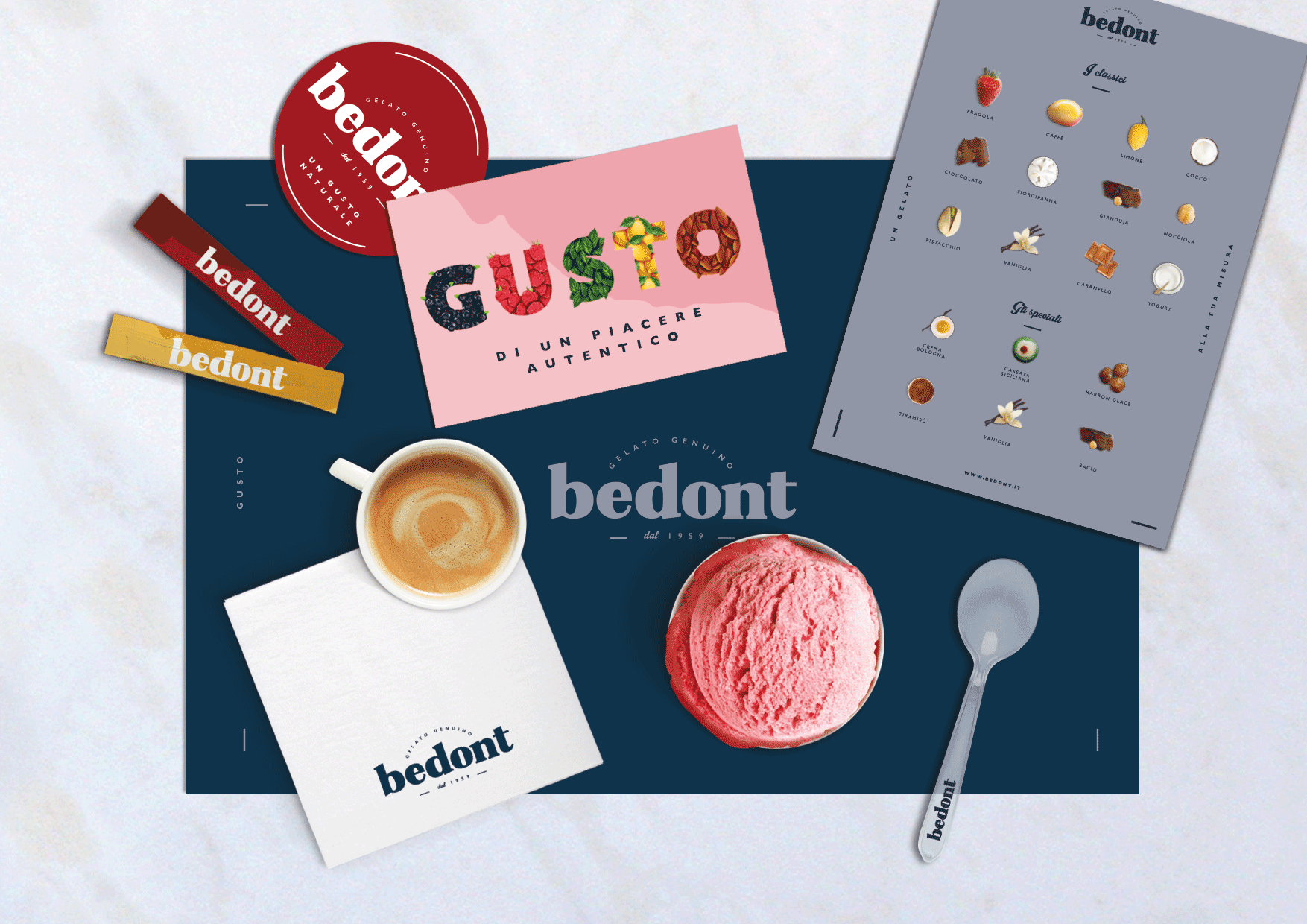 Bedont ice cream branding