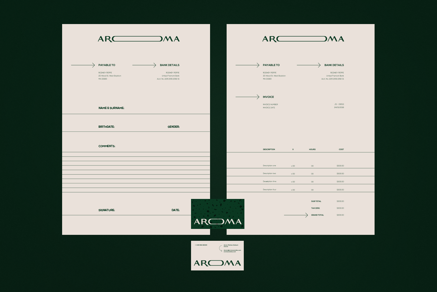 AROMA business card and invoice