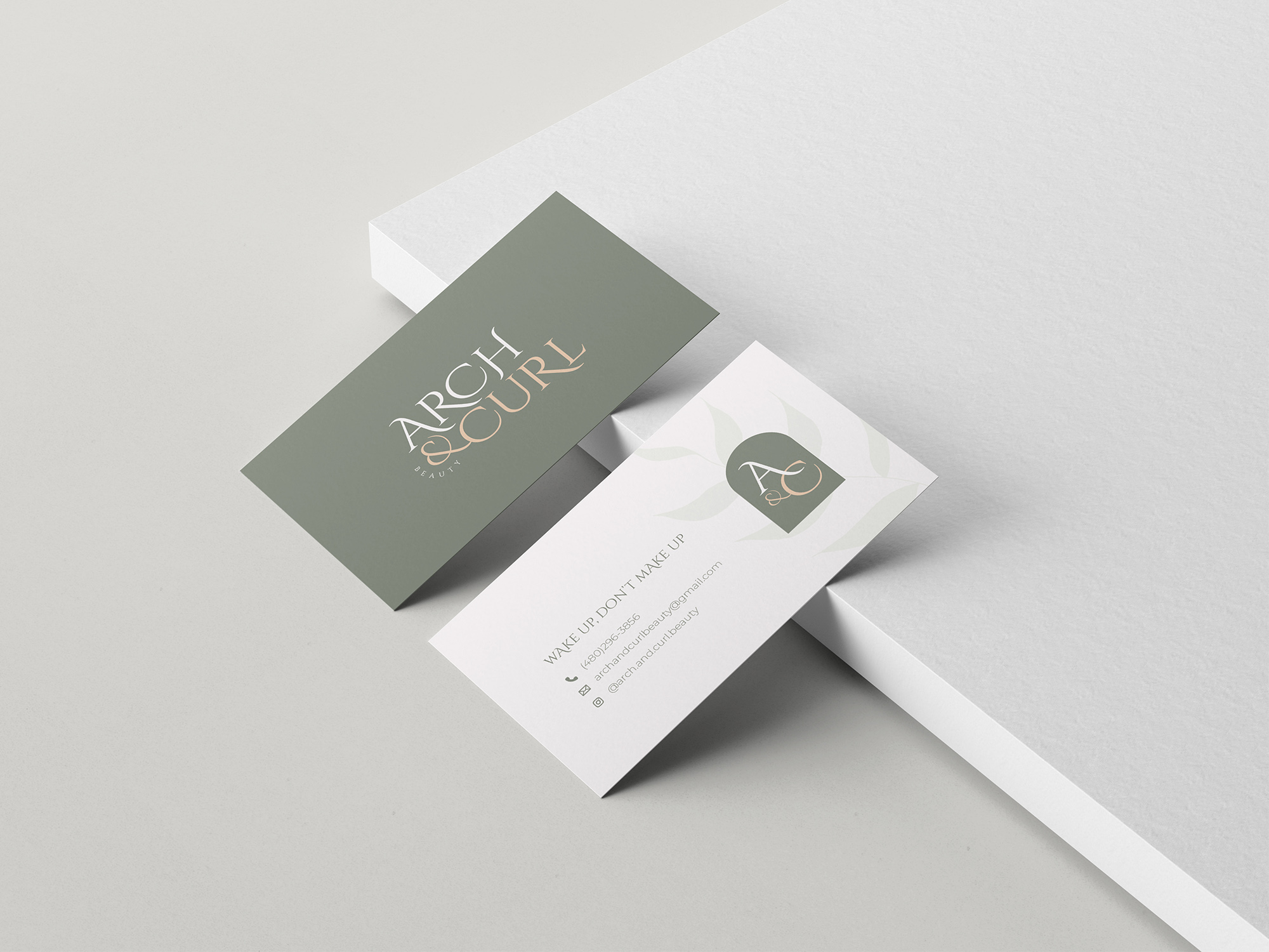 Arch & Curl Beauty business card