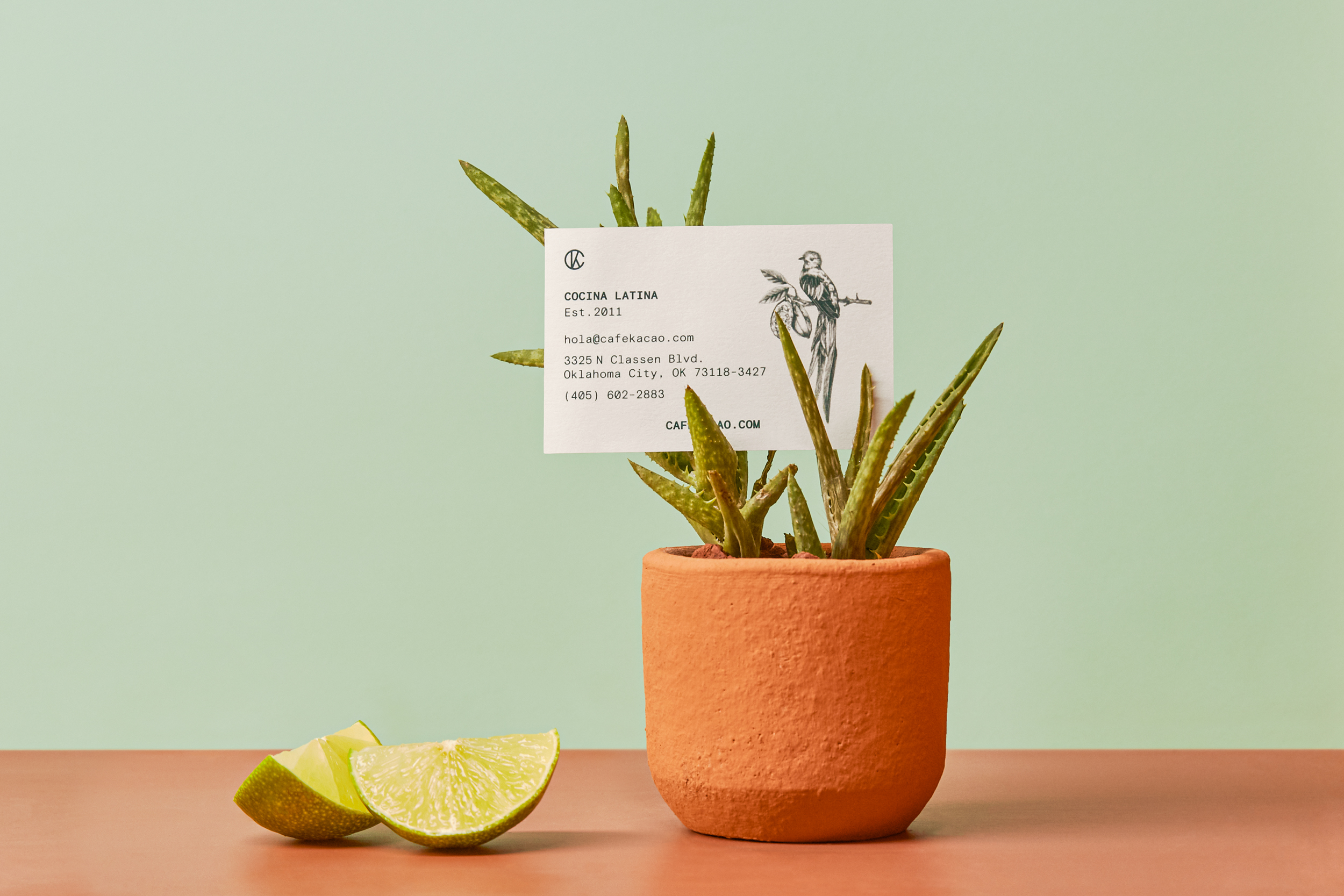 flower pot and Cafe Kacao card