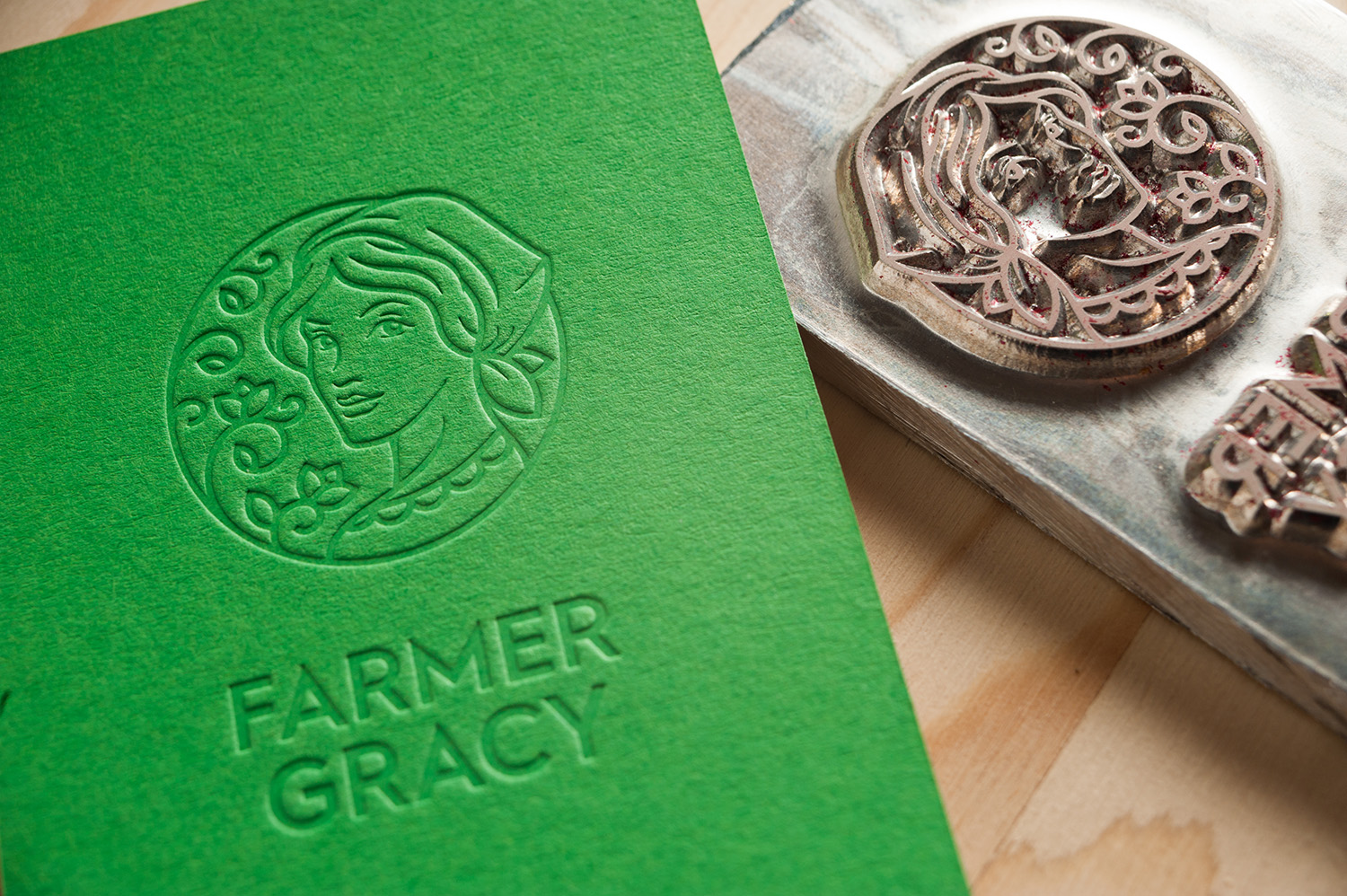 Farmer Gracy embossed card