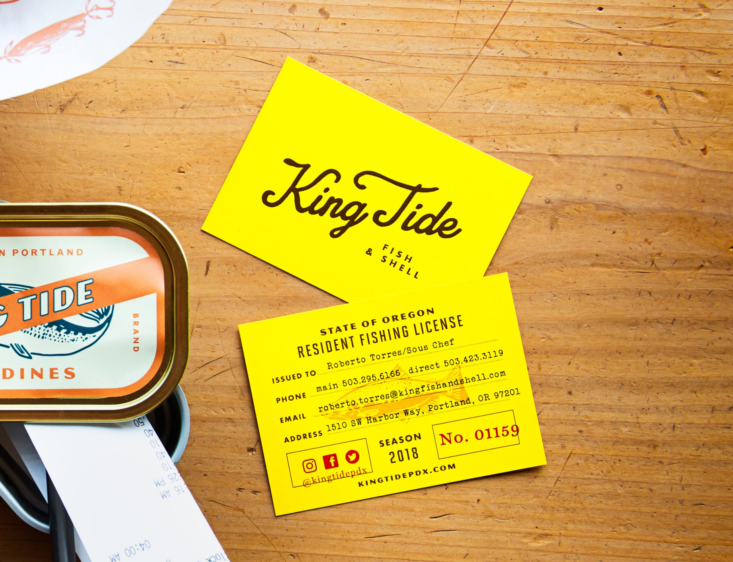 King Tide Fish & Shell business card