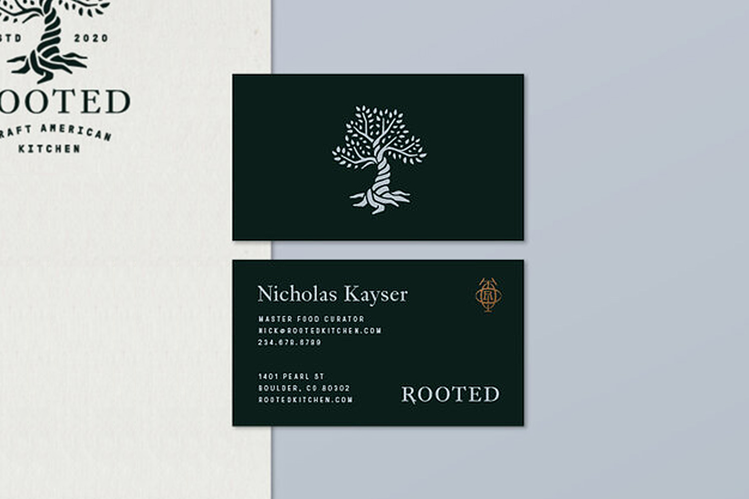 Rooted Craft Kitchen business card