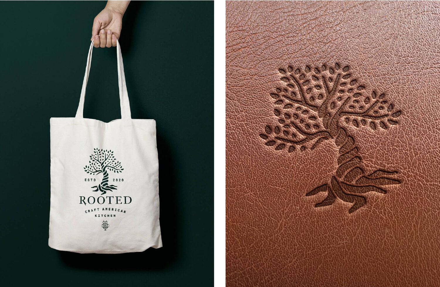 Rooted Craft Kitchen tote bag lether
