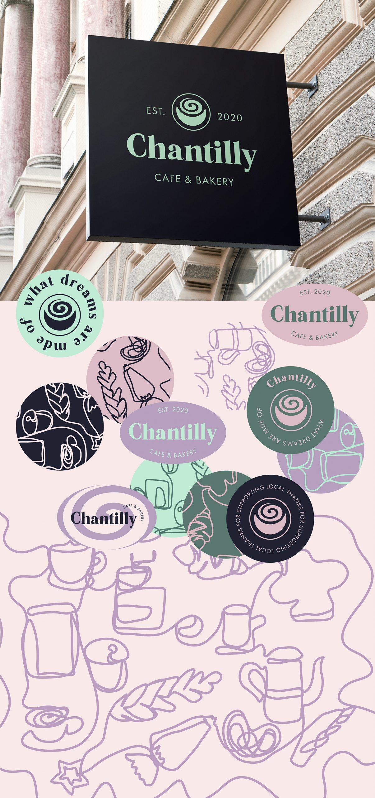 Chantilly sign and illustrations